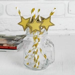 """Трубочки для коктейля """"Спиралька"""" со звездой, цвет золото (набор 6шт.)"""