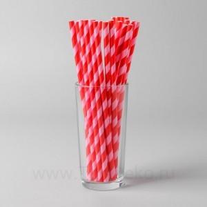 """Трубочки для коктейля """"Спираль"""" набор 25 шт, цвет красный-розовый"""