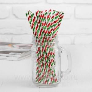 """Трубочки для коктейля """"Спираль"""" набор 25 шт, цвет красный-зелёный"""