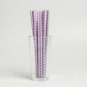 """Трубочки для коктейля """"Узор"""" набор 12 шт, цвет фиолетовый"""
