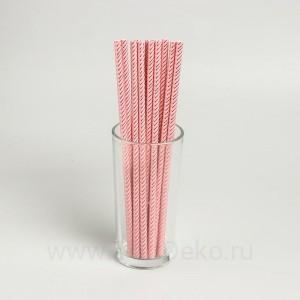 "Трубочки для коктейля ""Зигзаг"" набор 12 шт, цвет персиковый"