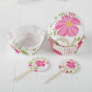"""Украшение для кексов """"Цветы"""" в наборе: 24 пики, 24 формочки"""