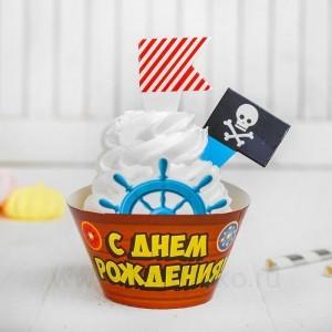 "Украшение для кексов ""Пират"", 6тарталеток, 12шпажек"