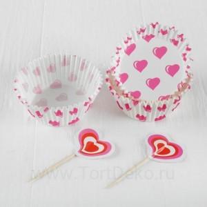 """Украшение для кексов """"Сердечки"""" в наборе: 24пики, 24формочки"""