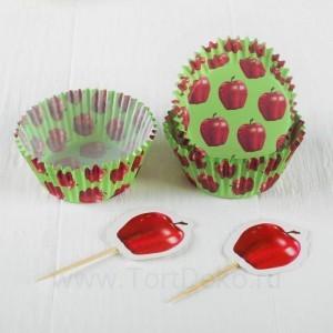 """Украшение для кексов """"Яблоко"""" в наборе: 24пики, 24формочки"""