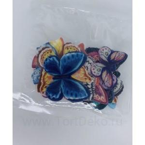 Вафельные бабочки цветные двухсторон, 20 шт, микс